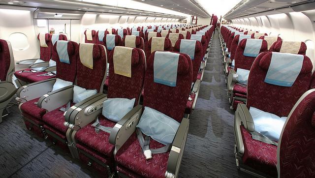 (c) Qatar Airways' Airbus A340-600 – Economy Class