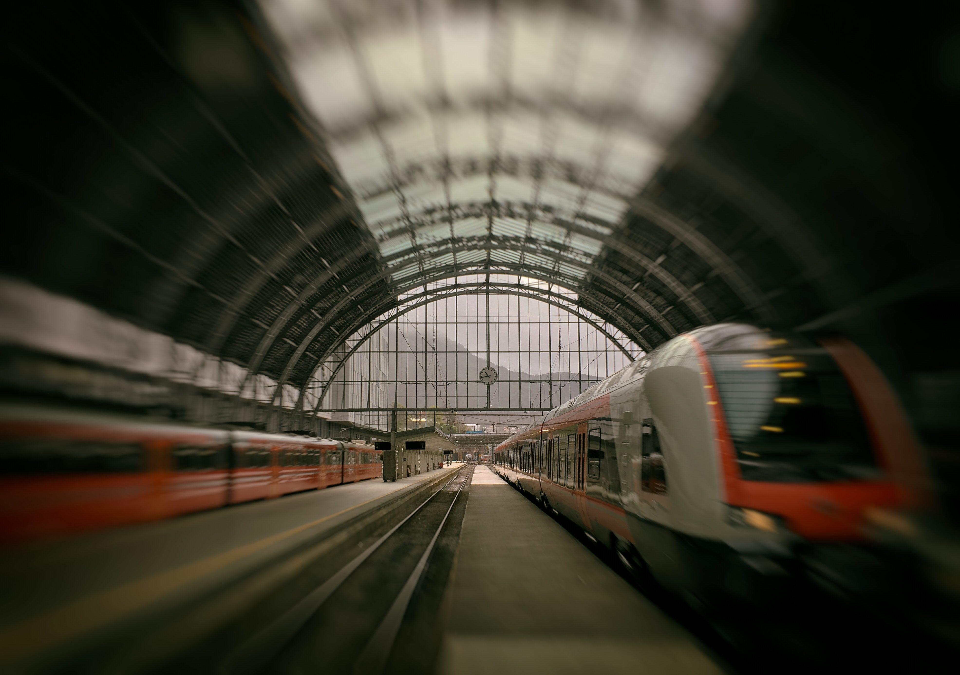 Bild von Bahnhofshalle mit mehreren Zügen